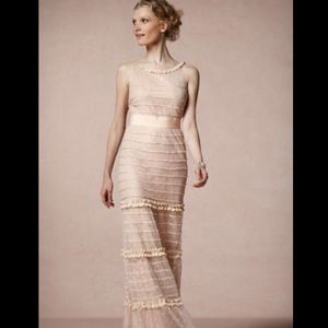 BHLDN Mesh Tulle Dotted Tiered Bow Ruffle Gown 6